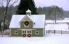 Green barn in winter