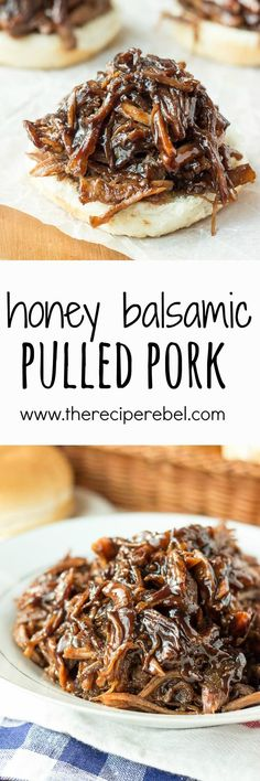 Slow Cooker Honey Balsamic Pulled Pork: Incredible thick, sweet and tangy honey balsamic sauce over slow-cooked pulled pork -- my absolute favorite way to do pulled pork! Perfect crockpot meal for summer or a busy weeknight! Slow Cooked Pulled Pork, Pulled Pork Recipes, Pork Recipe Video, Recipe Chicken, Slow Cooker Recipes, Cooking Recipes, Cooking Hacks, Cooking Tools, Cooking Time