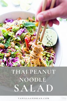 Packed with crunchy veggies, edamame, rice noodles and a scrumptious garlicky, gingery peanut-lime dressing, this Thai Peanut Noodle Salad recipe is make ahead ready and simple to pull together! Whole Foods, Whole Food Recipes, Dinner Recipes, Cooking Recipes, Steak Recipes, Thai Peanut Salad, Thai Peanut Noodles, Healthy Rice Noodles, Edamame