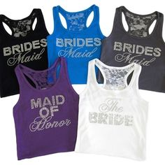 Lace Racerback Bridal Party Tank with Rhinestones