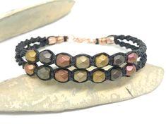 Metallic Beaded Macrame Bracelet- 2 Strand Beaded Bracelet - Twisted Macrame- Double Strand Macrame Bracelet- Fire Polished Metallic Beads