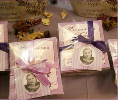 Party favors included perfumed drawer sachets, lavender soaps, and gift baskets