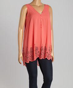 Simply Irresistible Coral Crochet-Hem Tank - Plus by Simply Irresistible #zulily #zulilyfinds