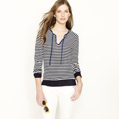 Cotton crepe ribbon henley in sea (JCrew). Cute and classy spring/summer look. Pair with white pants and neutral or red wedges!