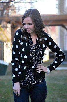 Two sizes of polkadots - polkadot cardigan and polkadot bow blouse