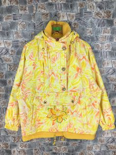 0b21a2b9e245 CISMON Skiing Hoodie Jacket Ladies Medium Snowboard Jacket Multicolor  Floral Abstract Flower Printed Skiing Yellow Bomber Jacket Size M