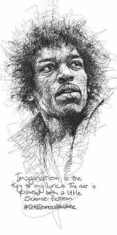 """Oeuvre by Vince Low - Célébrité """"Jimi Hendrix"""" Cool Sketches, Drawing Sketches, Pencil Drawings, Drawing Ideas, Jimi Hendrix, Pencil Portrait, Portrait Art, Ballpoint Pen Drawing, Scribble Art"""