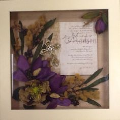 I found inexpensive shadow boxes or deep frames at Michaels, Hobby Lobby andesigns were pretty simple(still pretty) then got more and more creative. Found small bouquets in wedding sections or floral departments, Wedding Boxes, Wedding Frames, Wedding Flowers, Peacock Wedding, Hobby Lobby Wedding Invitations, Inexpensive Wedding Invitations, Shadow Box Memory, Diy Shadow Box, Old Fashioned Key