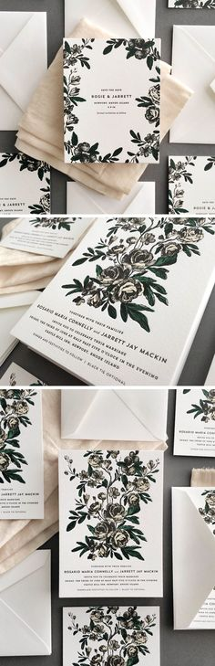 these floral invitations by hello tenfold are perfect for modern, elegant weddings and every season