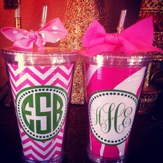 Chevron cup Zebra cup pink tumbler personalized by MissEmPrints, $20.00