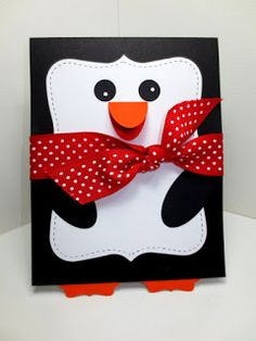 Stampin Up Handmade All Occasion Card, Penguin, Punch Builder Card Top Note Bigz Die, by Stampin Amore