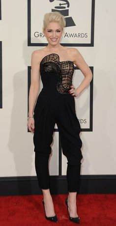 Gwen Stefani in an Atelier Versace jumpsuit at the Grammys