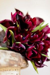Tulips and calla lilies wedding bouquet