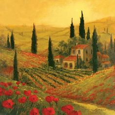 Poppies of Toscano I Tuscan Landscape Painting by Art Fronckowiak ... I want to live here!