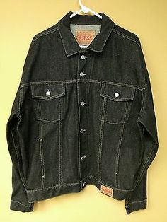 Vintage Guess Jeans Men's Black Denim Trucker Jacket size 2X XXL made in USA EUC