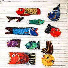 Gros poisson bleu de la grange recyclée en bois Art par TaylorArts