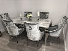 Get 2 Extra Chairs FREE with Vida Living Arturo Grey Marble and Chrome Dining Table – 6 Grey Knockerback Chrome Leg Chairs – Marble Table Designs Dinning Room Table Decor, Sofa Dining Table, Dinning Room Sets, Marble Top Dining Table, Luxury Dining Room, Dining Room Design, Dining Area, Kitchen Design, Room Decor