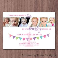 Modern Photo Collage Girl First Birthday Invitation 6 Photos Pictures 1st Invite Boy 1 Year Old In A Flash Party Banner