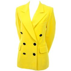 Preowned 1980s Escada By Margaretha Ley Vintage Yellow Cashmere & Wool... ($795) ❤ liked on Polyvore featuring outerwear, jackets, blazers, blazer, yellow, cashmere blazer, vintage 80s jacket, 80s jackets, short-sleeve blazers and escada jacket