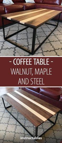 Walnut, Maple and Steel Coffee Table #woodworking #metalworking #welding #furniture