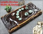 High quality Chinese wood ebony tea tray dragon pheonix handmade carved tables