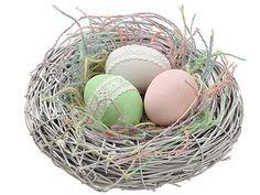 "Artificial Bird Nest with Eggs in Assorted Pastels 8"" Diameter"