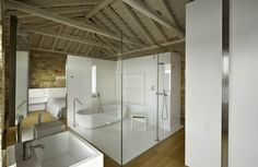 Architecture: Awesome Tower Resident Architecture with Modern Interior by Giorgio Zaetta Architect, in Rovijn, Croatia. Outstanding White Bathroom Set Covered with Glass and Wooden Ceiling