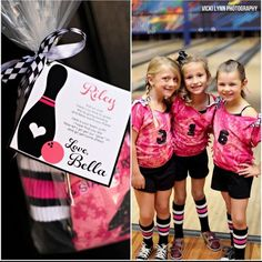 Bowling party-like the matching shirts and socks for everyone! Would be so cute for the daisies for the bowl with my guy event. Kids Bowling Party, Bowling Party Themes, Bowling Party Invitations, Kid Party Favors, Soccer Party, 5th Birthday Party Ideas, 13 Birthday, Bowling Outfit, Little Girl Birthday
