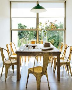 yellow chairs, blond distressed wood