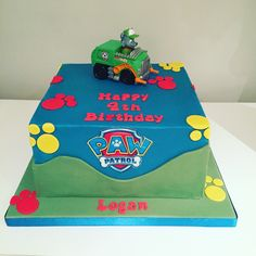 Paw patrol birthday cake, sharp square edges. Model is a toy!