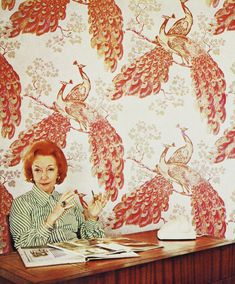 Florence Broadhurst featured amongst some of her most iconic imagery of peacocks. I love this picture as her flamboyant red hair blends into the wallpaper almost to highlight that her work was an extension of personality. Never Stop Dreaming, Florence Broadhurst, Peacock Pattern, Peacock Print, Making Waves, Print Wallpaper, Love Home, Designer Wallpaper, School Design