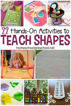 Discover more than 20 engaging preschool activities to teach and reinforce shapes! Low-prep, hands-on fun for little ones.Quality times and … Preschool Learning Activities, Preschool At Home, Preschool Lessons, Teaching Kindergarten, Hands On Activities, Toddler Activities, Shape Activities, Preschool Projects, Motor Activities