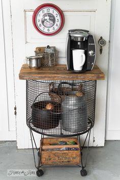 Vintage cart coffee station / potato bin / beverage station for Christmas on FunkyJunkInteriors.net