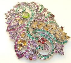 Huge Precious Multigem Sterling Silver pendant