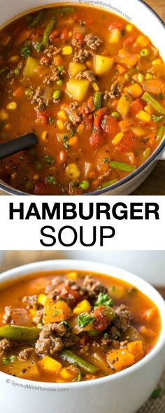 Hamburger Soup is a quick and easy meal loaded with vegetables, lean beef, diced. - Hamburger Soup is a quick and easy meal loaded with vegetables, lean beef, diced tomatoes and potat - Beef Soup Recipes, Slow Cooker Recipes, Dinner Recipes, Healthy Hamburger Recipes, Chicken Recipes, Quick Ground Beef Recipes, Meatloaf Recipes, Chili Soup Recipe Beef, Crockpot Recipe With Ground Beef
