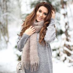 Beautiful Mungoanna with Balmuir's super soft and warm kid mohair scarf. www.balmuir.com