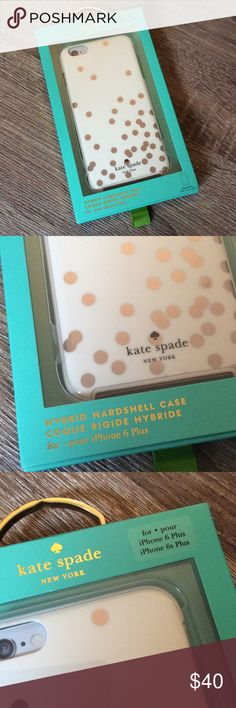 Kate Spade iPhone 6 Plus Case Brand New Kate Spade iPhone Hybrid Hardshell Case. Compatible with iPhone 6 Plus and iPhone 6s Plus. White with silver dots. Box included. kate spade Accessories Phone Cases