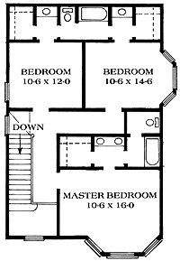 Home Plans HOMEPW14990 - 1,950 Square Feet, 3 Bedroom 2 Bathroom Queen Anne Home with- Smaller but jack and jill bath & closet arrangement is FANTASTIC