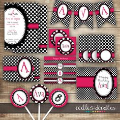 Hot Pink, Black & White Birthday Party Kit / Polka Dots and Monogram Party Package / Girl's Birthday / 1st, 2nd, 3rd Birthday - Printable