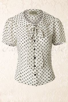 Collectif Clothing - 50s Lucille Polka Chiffon Blouse Cream and Black