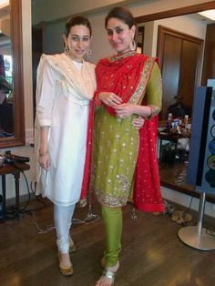 Karisma Kapoor and Kareena Kapoor pose for the camera before Kareena's court wedding. #Bollywood #Fashion #Style #Beauty