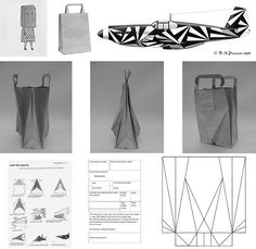 Design process for coming up with a folded origami style paper bag . Paper Packaging, Bag Packaging, Packaging Design, Origami Bag, Origami Paper, Diy Paper Bag, Paper Crafts, Kirigami, Karton Design