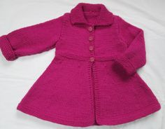 Baby Girls Toddler Sweater Coat  Hand Knit Size 2T From a Vintage Pattern. $58.00, via Etsy.