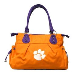 Clemson University Tigers Polyester Handbag with Embroidered Tiger Paw. $69.99