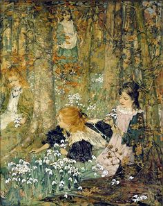 The Coming of Spring (also know as The Fair Maids of February) (1899) - Edward Atkinson Hornel - (Scottish, 1864 - 1933)