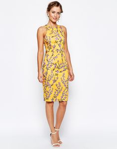 Image 4 of Closet Midi Pencil Dress In Summer Floral Print