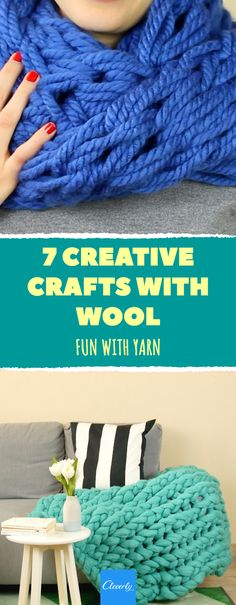 7 Creative Crafts With Wool Diy Crafts To Sell, Crafts For Kids, Pinterest Crafts, Toilet Paper Roll, Crochet For Beginners, Creative Crafts, Merino Wool Blanket, Knitting Projects, Diy Bedroom Decor