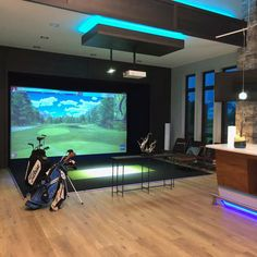 Golf Simulator for Residential | Play Golf 365 Days a Year | Full Swing Golf Home Golf Simulator, Indoor Golf Simulator, Gym Room At Home, Home Theater Rooms, Golf Man Cave, Golf Room, Home Gym Flooring, Cool Stuff