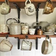 Grey speckled jug by Sue Paraskeva, via Fen and. - the modern pottery studio Cool Kitchen Gadgets, Cool Kitchens, Kitchenware, Tableware, Kitchen Shelves, Kitchen Pantry, Kitchen Stuff, Pottery Studio, Farmhouse Chic