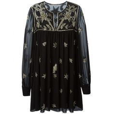 embroidered tunic dress Saint laurent (97 230 UAH) ❤ liked on Polyvore featuring dresses, keyhole dress, loose fitting dresses, embroidered dress, ruffled dresses and yves saint laurent